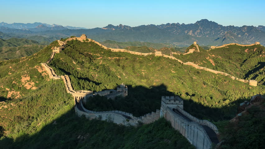 """Sunrise of Great Wall of China (Panning Shot, 4k Time-Lapse Video). Aerial view of Jinshanling Great Wall near Beijing, China.  - >>> Please search similar: """" ChinaGreatWall """" ."""