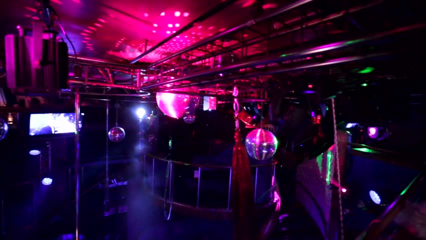 """MOSCOW, RUSSIA - DECEMBER 11, 2015: interior view of the """"White Bear"""" strip club.  
