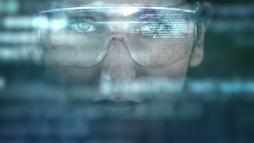 Young woman with holographic glasses. Futuristic. Augmented reality. Dark. #13833938
