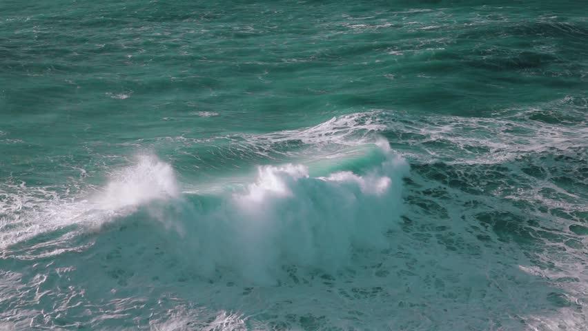 Slow Motion Ocean Waves Breaking on Shore, storm weather | Shutterstock HD Video #13897556