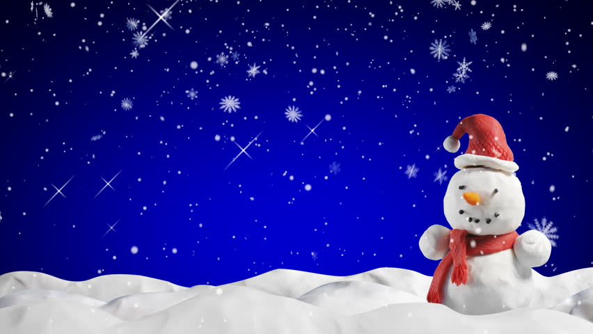 clay animation snowman and snowfall -  loop starting at 5.00