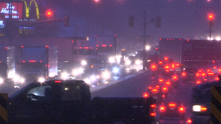 Ontario, Canada December 2013 Traffic at dusk in winter with snow | Shutterstock HD Video #13921484