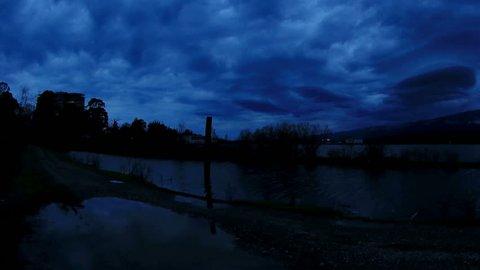 Sunrise on an relict lake Inkit in winter under gloomy clouds, Pitsunda, Abkhazia. Full HD