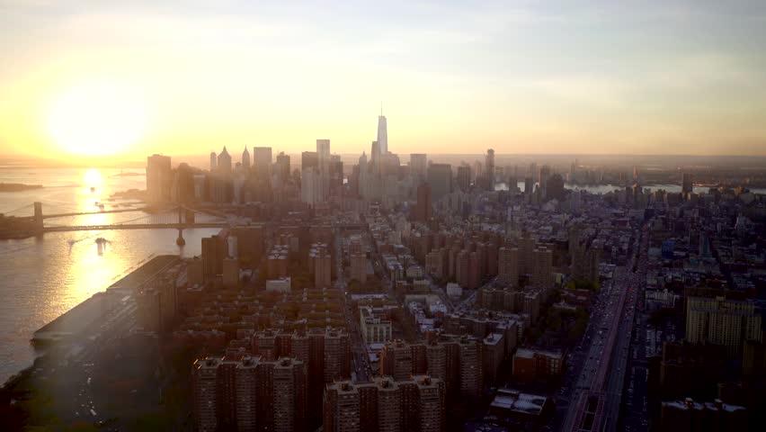 new york city skyline aerial view at sunset. urban metropolis landmark scenery background #13932989