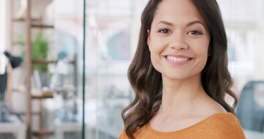 Portrait of successful Mixed Race Businesswoman entrepreneur working at busy office smiling | Shutterstock HD Video #13949813