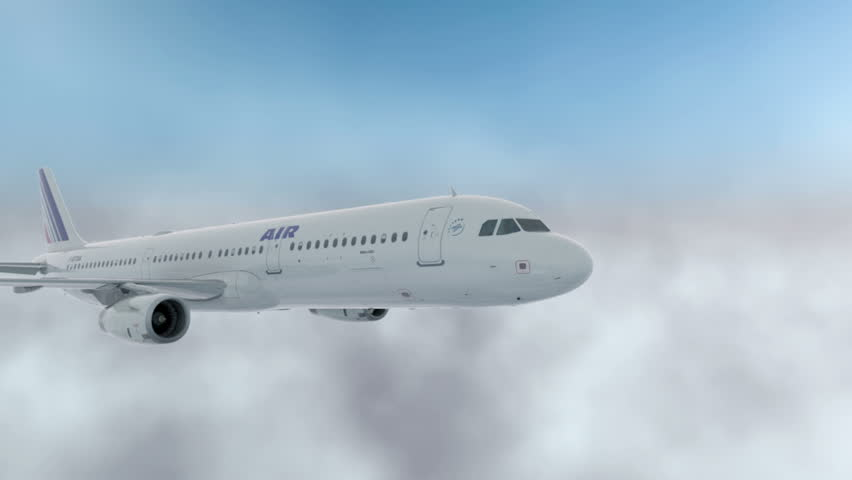 Passenger airbus a321, plane flying in the clouds. Realistic 3d CG animation.