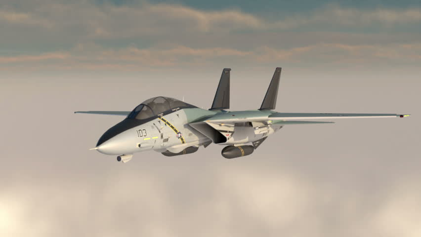 F -14 , american military fighter plane.Jet plane. Fly in clouds. Wonderfull sunset. Realistic CG 3d animation