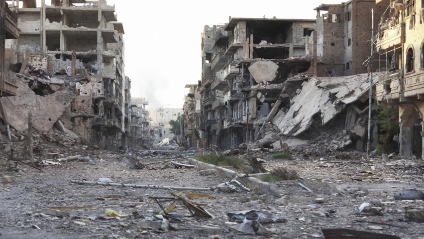 Syria Pan Dolly shot aftermath destroyed city - 4K