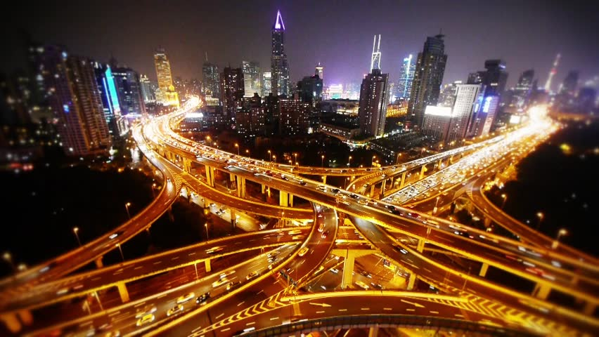 Time lapse,Aerial View of freeway busy city rush hour heavy traffic jam highway,shanghai Yan'an East Road Overpass,driving racing by with streaking lights trail & super long exposures. gh2_07478 | Shutterstock HD Video #13987766
