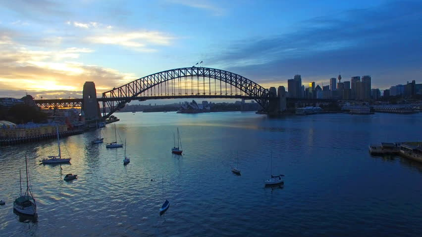 4k aerial footage at Sydney Harbour Bridge during sunrise at summer