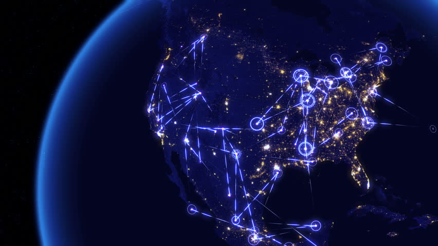 Global communications through the network of connections over North America. Concept of internet, social media, traveling or logistics. High resolution texture of city lights at night. 4k - Ultra HD. | Shutterstock HD Video #14047121