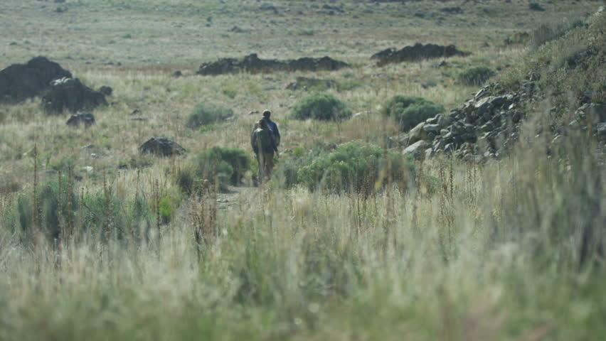 Couple hiking through desert landscape #14051465