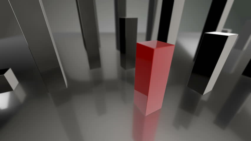 Seamless looping 3D animation of a green and red bars diagram up to 0% and 100% including luma matte | Shutterstock HD Video #14060525
