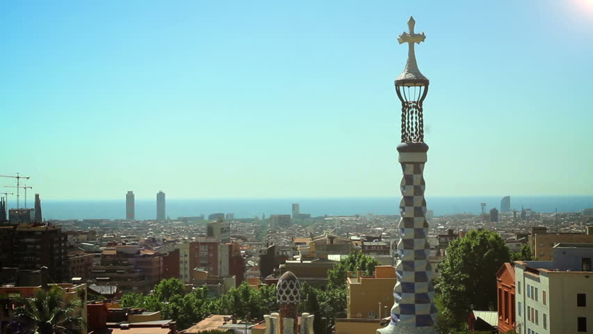 BARCELONA, SPAIN - 20 MAY, 2015: The Park Guell aka Parc Guell is a public park system of gardens and architectonic elements located on Carmel Hill designed by Catalan architect Antoni Gaudi   Shutterstock HD Video #14068250