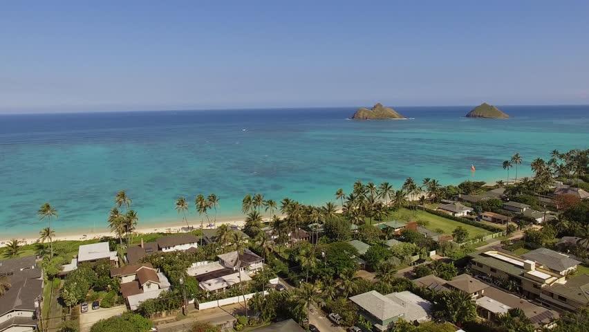 Aerial Oahu Lanikai Beach. Hawaii.