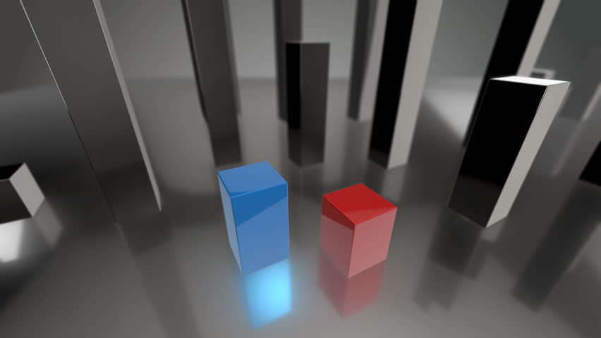 Seamless looping 3D animation of a blue and red bars diagram up to 58% and 42% including luma matte | Shutterstock HD Video #14079851