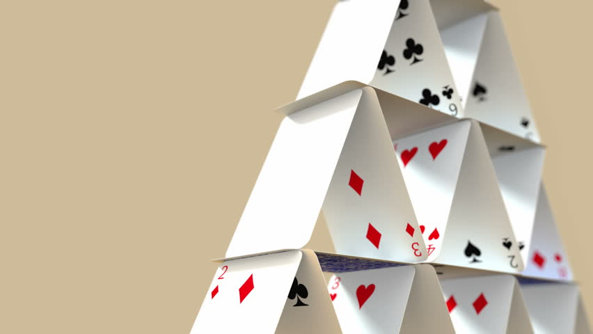 Falling House of Cards with Alpha Matte 4K | Shutterstock HD Video #14081069