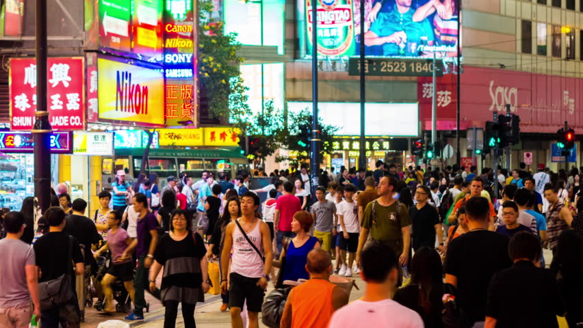 HONG KONG - 13 SEPT 2013: Timelapse view of people on the streets Hong Kong city at Causway Bay. Hong Kong is a major financial hub in the Asia region on 13 September 2013 in Hong Kong, China
