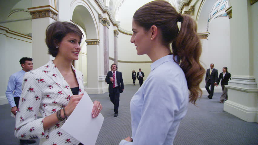 Diverse group of business or political delegates meeting in an elegant, classically designed building. Two attractive young businesswomen stand and chat with others walking past them. In slow motion. | Shutterstock HD Video #14100995