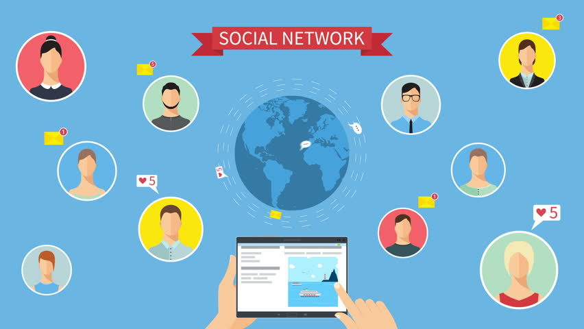 Social network concept animation. Hands holding a tablet and choosing social network pages.  Around Earth flying email messages,