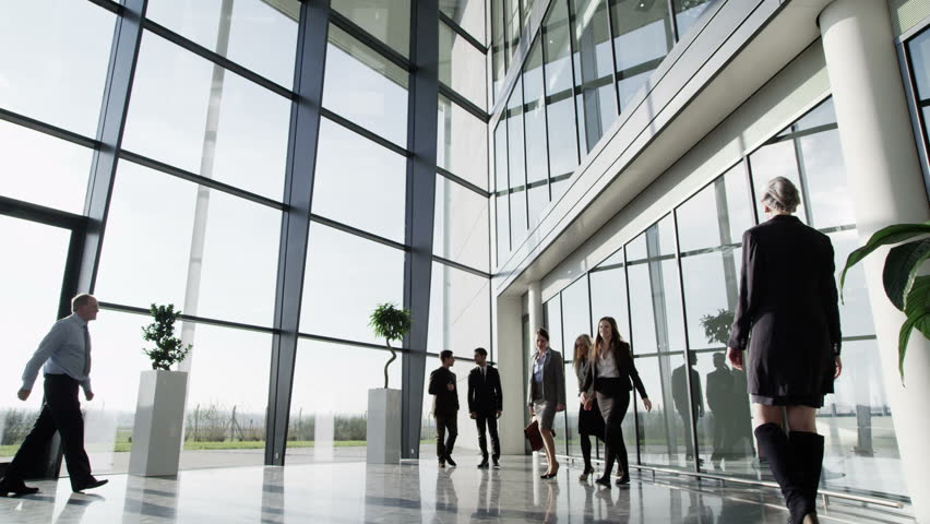 4k / Ultra HD version Three businessmen meet and shake hands in a busy modern office building on a bright day. In slow motion. Shot on RED Epic | Shutterstock HD Video #14126948
