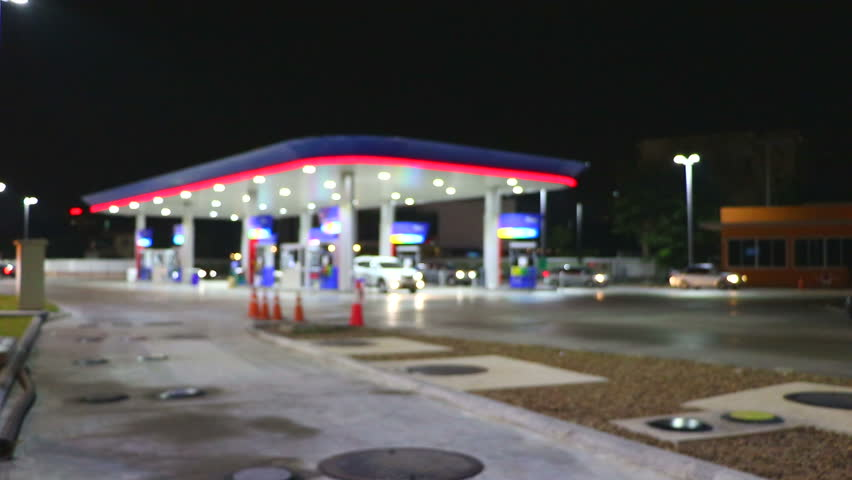 The Lighting Blurred in Gas station at night     Shutterstock HD Video #14135972