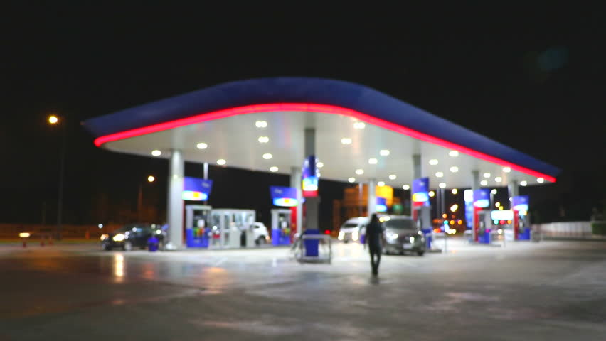 The Lighting Blurred in Gas station at night     Shutterstock HD Video #14143658