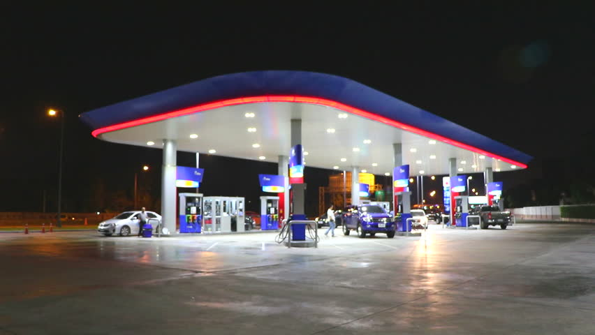 The Lighting Blurred in Gas station at night 