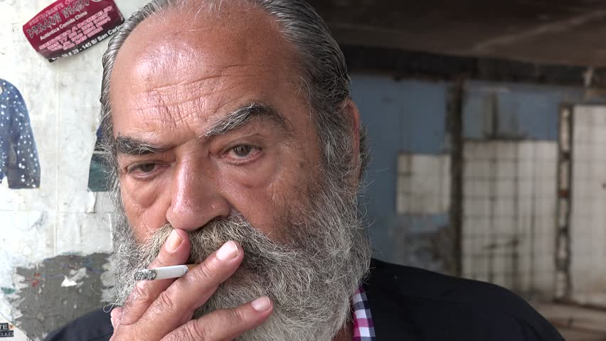 Sad Old Man Smoking | Shutterstock HD Video #14154569