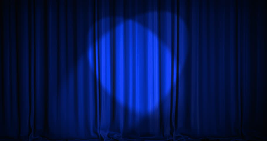 A blue velvet curtain opening with spotlights in a movie theater. An alpha matte is included as well. High quality render in 4K format.
