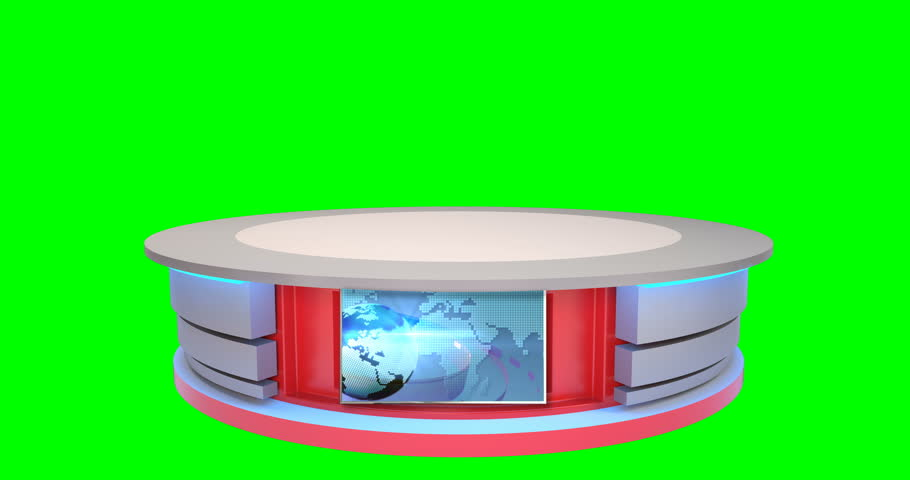 4K isolated news desk for virtual sets. This news desk is in 4k resolution so you can zoom and position the desk as needed in your scene! Loops at 22:15 or use your own graphic in the screen! | Shutterstock HD Video #14186351