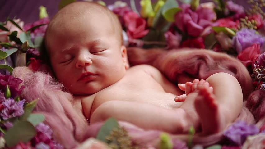 Cute Newborn Baby Girl Sleeping Stock Footage Video 100 Royalty Free 14190233 Shutterstock