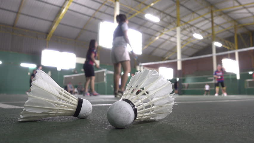 People playing on badminton sport, 4K