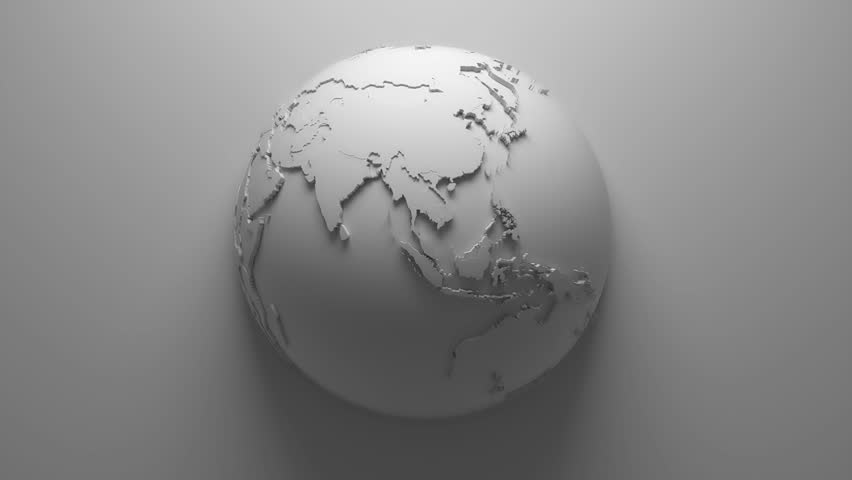 Monochrome abstract background with loopable rotation of earth globe, continets are with countries randomly extruded | Shutterstock HD Video #14203442