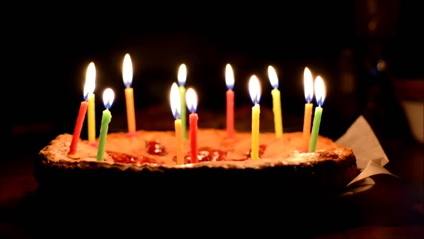 Awe Inspiring Happy Birthday Cake With Burning Candles Funny Birthday Cards Online Elaedamsfinfo