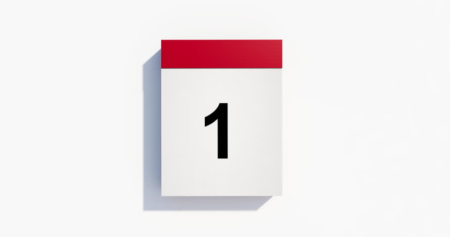 A red monthly calendar on white background. Animation includes a complete cycle for 31 days. Pages start to flip from right bottom and fly away after tearing.High quality render in 4K resolution file.