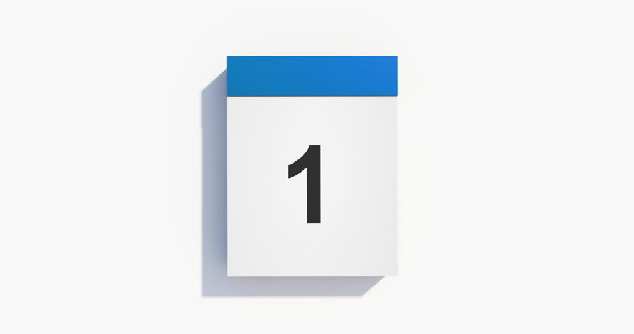 A blue monthly calendar on white background. Animation includes a complete cycle for 31 days.Pages start to flip from right bottom and fly away after tearing.High quality render in 4K resolution file.