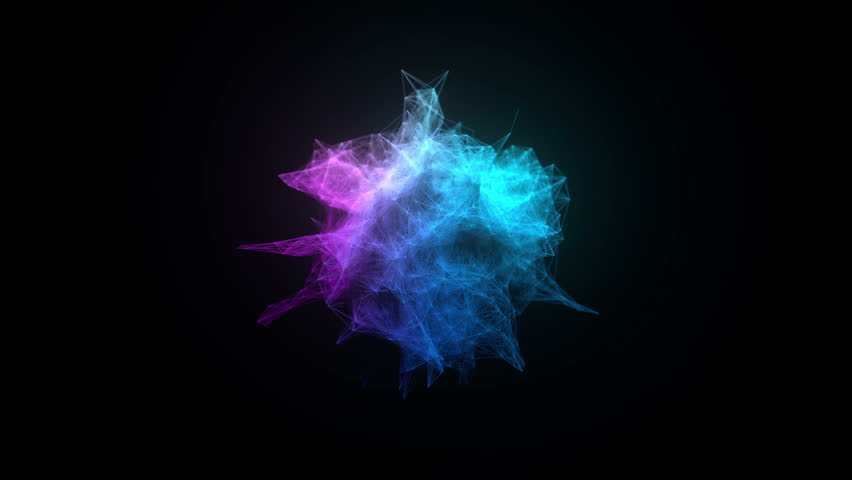 Abstract triangles explosion on black (slow motion, shallow dof, alpha matte, full hd) #14224610
