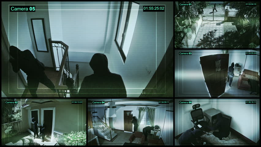 Many security cameras installed into the house show a robbery and criminals.