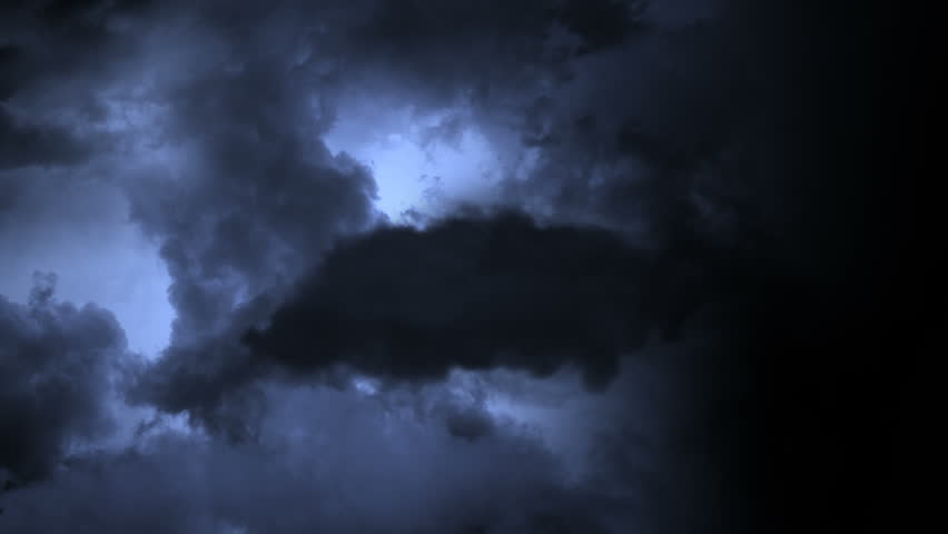 Lightning Flashes in Storm Clouds
