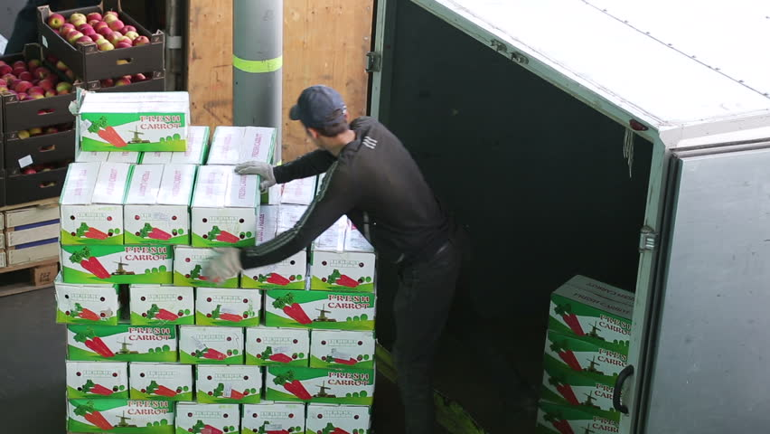 Russia, Novosibirsk - July 25, 2015: Emploee of transport company unload boxes of goods from trailer of truck. Order for carriage for eat. Company import foodstuffs for resale. Boxes with apples