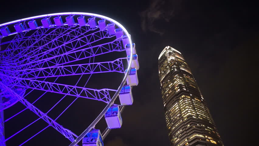 Hong Kong, China - CIRCA Nov 2015, IFC tower with ferries wheel at central, financial district of Hong Kong. | Shutterstock HD Video #14257274