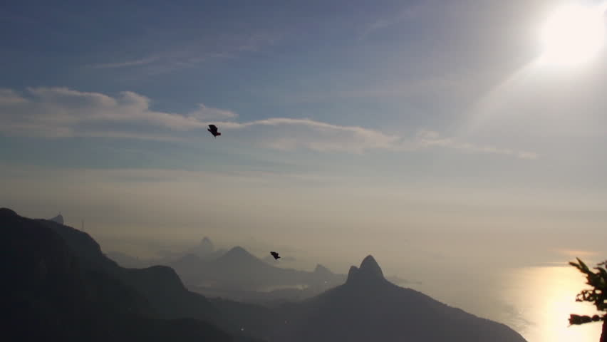 Wingsuit in Rio at Sunset