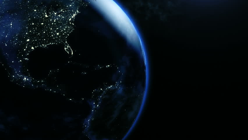 Animation of planet earth in rotatint at night in 4k   Shutterstock HD Video #14273312