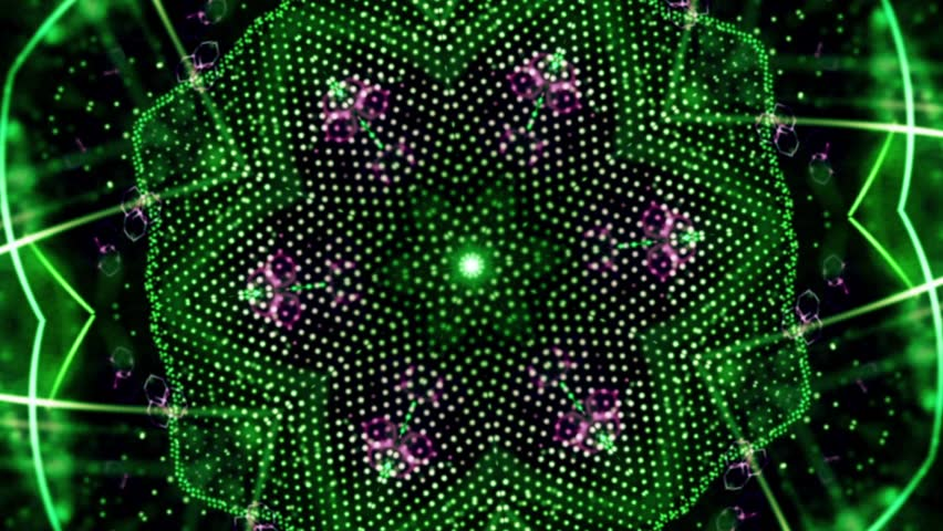 Green rotation abstract background made up of many small elements Animation