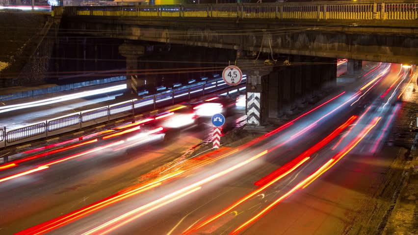 Kiev, Ukraine, February 3, 2016: Timelaps night road | Shutterstock HD Video #14285983