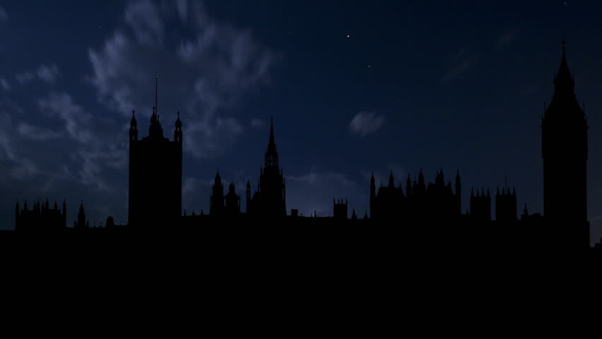 Famous Big Ben, or the Clock Tower,  in London, with the view on Palace of Westminster, also known as the Houses of Parliament, and the Westminster Bridge.   Shutterstock HD Video #1428943