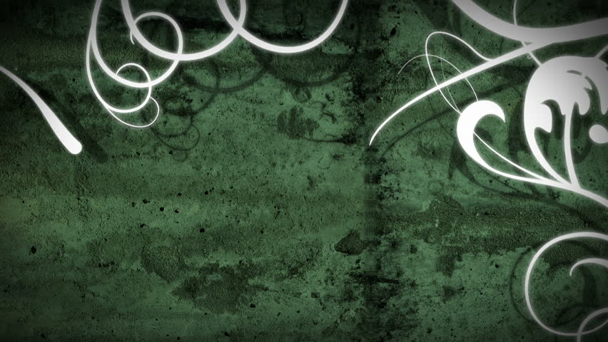 An energetic animated background with white vine flourishes growing over a grunge textured background, ending with a flourish frame with space for your text