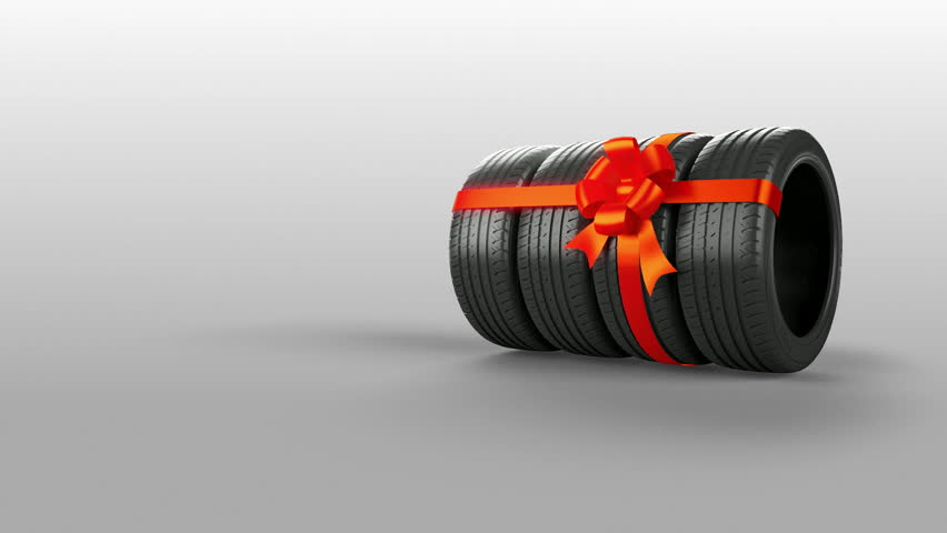 Tyre tire isolated on white animated present gift with mask