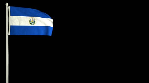 Salvadoran flag waving in the wind with PNG alpha channel for easy project implementation